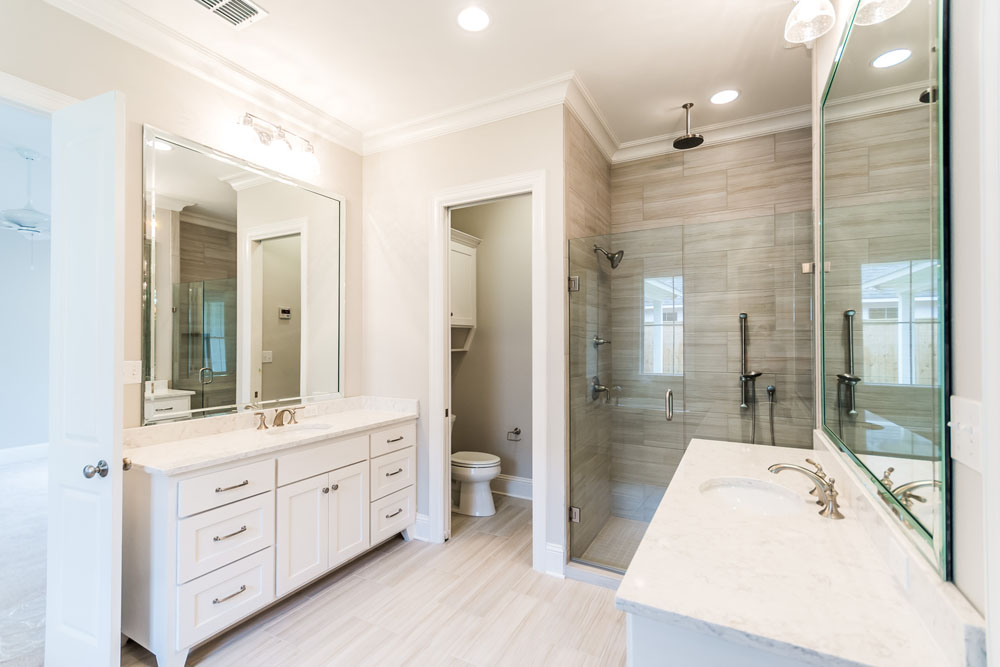 Double Sink Master Bath with multiple shower heads