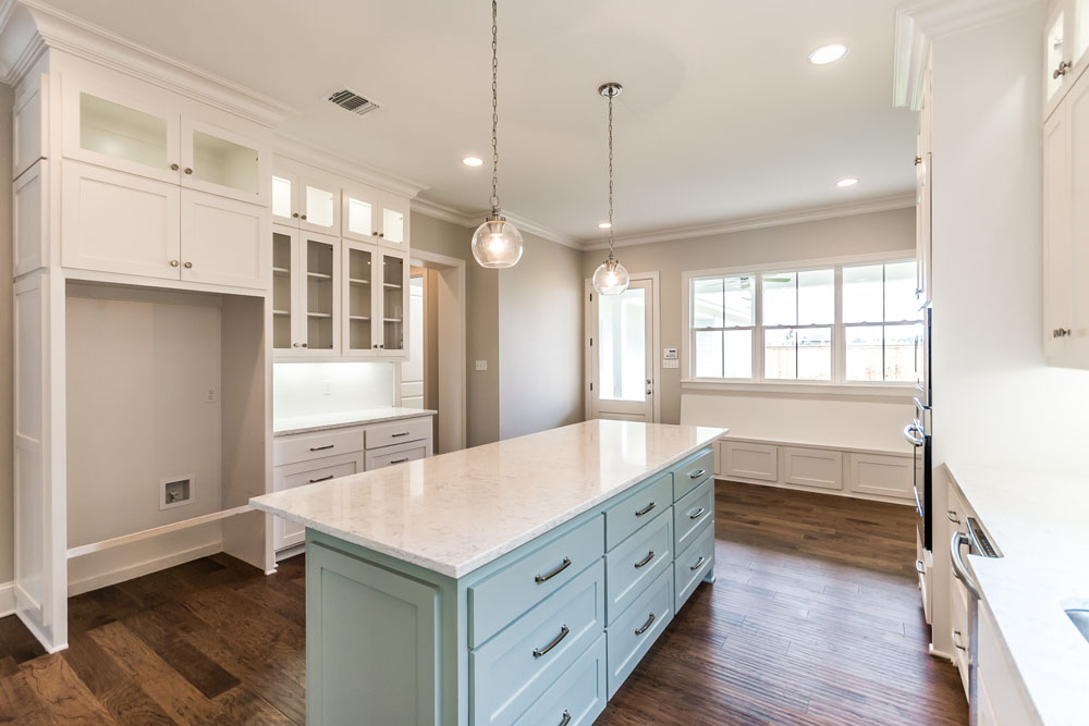 Light Blue Kitchen Island with Storage in New Construction Home in Shreveport
