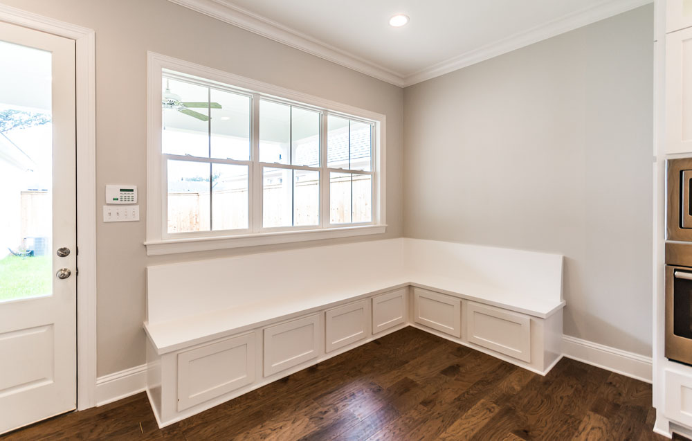 Storage Window Bench off Kitchen in New Construction Home For Sale in Shreveport